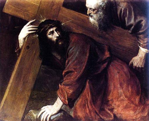 la cruz a cuestas. Tiziano