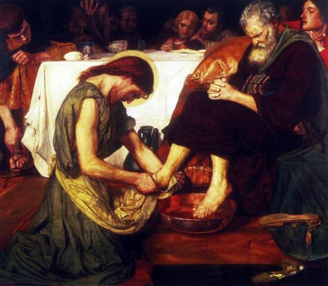 El Cristo, al lavar los pies de los Apóstoles, es el símbolo de la humildad del iniciado ante sus inferiores.